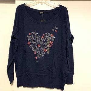 Torrid Navy Blue Butterfly Heart Sweater Sz 1 NWT